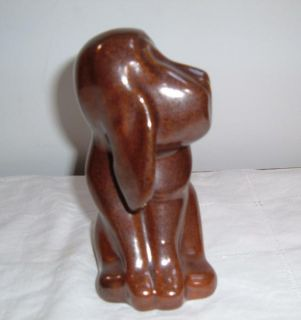 Pigeon Forge Pottery Brown Hound Dog Signed Douglas Ferguson