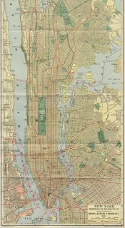 New York City / Manhattan Street Map Authentic 1907 (Dated) Landmarks
