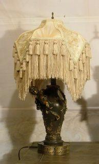 Pair of Antique Victorian Style Custom Bronze Brass Cherub Table Lamps