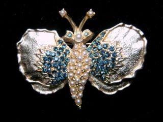 vintage dodds blue rhinestone pearl butterfly brooch