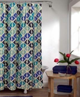 Retro Geo Design Shower Curtain Navy Blue Aqua Teal Ivory New