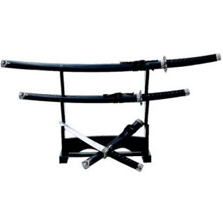 Black Samurai Sword Set Display Stand 40 33 28 Ninja Katana Tanto