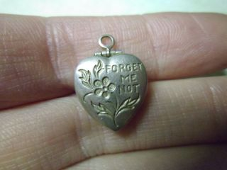 Vintage Sterling Opening Forget Me Not Puffy Heart Locket Charm Doyle