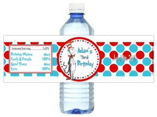 Cat in The Hat Dr Seuss Birthday Party Water Bottle Labels