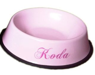 Stainless Steel Dog Pet Bowl Pink Blue Puppy Small Large Luxury