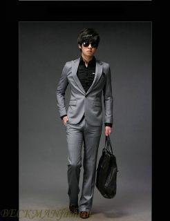 Grey New Mens Slim Fit One Button Dress Suit Pant Vest