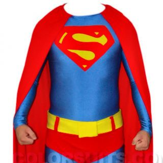 Superman Costume Lycra Zentai Full Body Suit Belt Cape Ships from USA