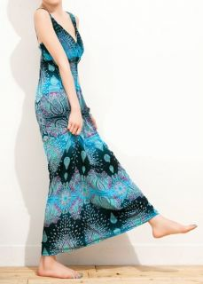 long Maxi boho chic indian dress size s m Blue teal pasley womens or