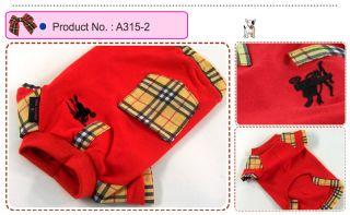 Dog Cat Clothes Pocket Embroidered Emblem Shirts A315 Red Sz XXL