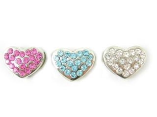 Dog Collar Charms Pet Jewelry Rhinestone Heart Slides