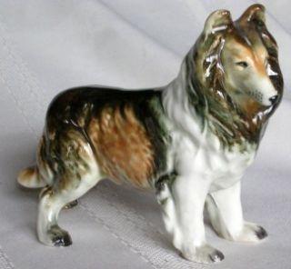 Vintage Ceramic Dog Tri Color Rough Collie Sheepdog Ceramic Porcelain