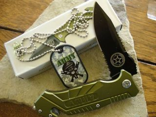 Assisted Open Army Dog Tag Rescue Knife YC 501AR Zix