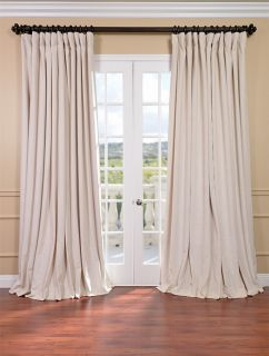 Ivory Double Wide Velvet Blackout Pole Pocket Curtains Drapes