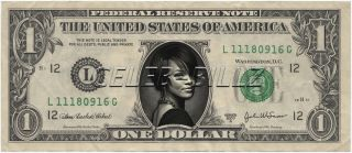 Rihanna Dollar Bill Real Currency Celebrity Novelty Collectible Money