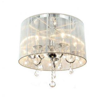 White Drum Shade 5 Light Ceiling Chandelier Pendant Flush Light