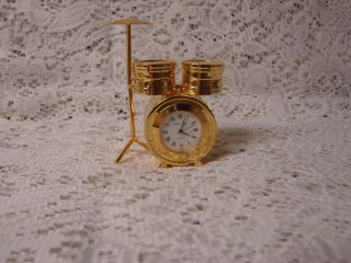 Lane Collectible Brass Miniature Quartz Novelty Clock Drum Set