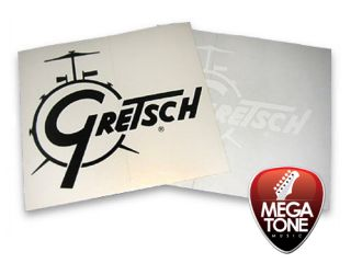 New Gresch Drum Logo Decal in Whie   Grea on Kick Drum Heads and