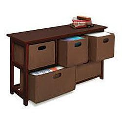 Wooden Organizer 5 Drawer Bins Storage Dresser Cherry 09071 New
