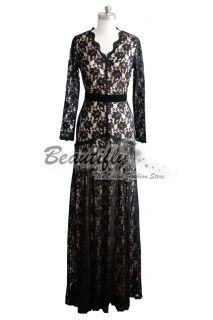 Sexy Elegant Formal Long Sleeves Black Lace Evening Gown Prom Ball