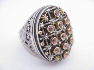 New Konstantino Sterling Silver 18K Yellow Gold Pink Tourmaline Ring