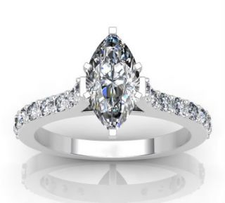 77ct Marquise Cut Cathedral Engagement Ring 14k Solid Gold