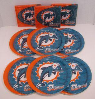 Miami Dolphins NFL Party Set 48 Paper Plates Napkins