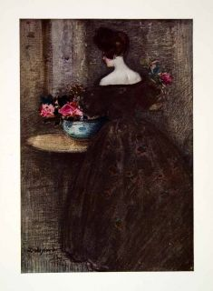 1906 Color Print Dudley Hardey Art Peonies Flowers Woman Dress Floral