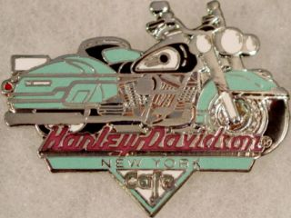 Harley Davidson Cafe New York 1997 Teal Motorcycle Pin