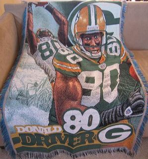 New Donald Driver Green Bay Packers Throw Gift Blanket NFL Football