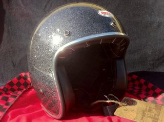 Bell Custom 500 Black Flake Motorcycle Helmet Open Face 3 4 Vintage