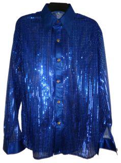 Men Disco DJ Band Sequin Cabaret Party Fancy Shirt Blue