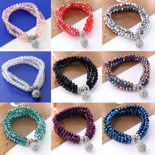 Rows Crystal Glass Dangle Disco Ball Charm Beads Rhinestone Bracelet