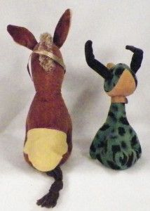 Cute Donkey Dog Stuffed Animals Toy 1960s Japan Vintage Both Need Felt