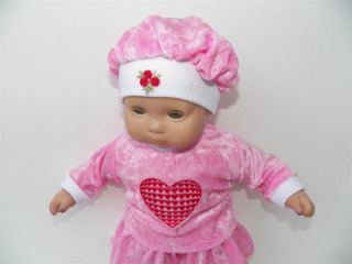 Pink Red Heart Valentine Skirt Set Doll Clothes Fits 15 American Girl