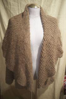 donna karan pure dkny hand knit wool rich khaki wool shawl neck shrug
