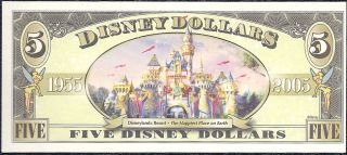 Disney Dollar 2005 $5 Donald Duck Crisp Mint A00017524