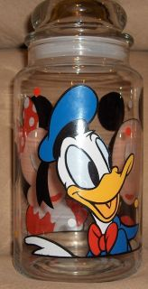 Mouse Minnie Mouse Donald Duck Disney Glass Candy Jar with Lid