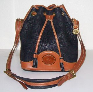 Dooney Bourke Black Pebble Brown Leather Drawstring Bucket Bag Purse