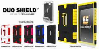 For Nokia Lumia 920 Yellow Duo Shield Heavy Duty Hard Case Cover Clear