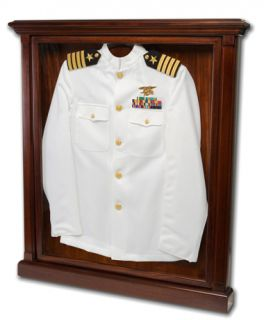 Military Uniform Display Solid Mahoganyw UV Nameplate Engraving Museum