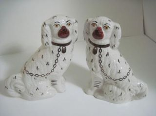 ANTIQUE STAFFORDSHIRE DISRAELI DOG (PAIR) WHITE & GOLD SPANIELS/SIGNED