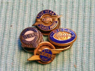 4 WWII Era Bell Aviation Service Award Pins