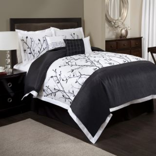 6pc Black White Tree Branch Embroidered Pintuck Comforter Set Cal King