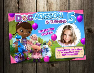 Doc McStuffins Disney Birthday Party Invitation Card Custom Invites