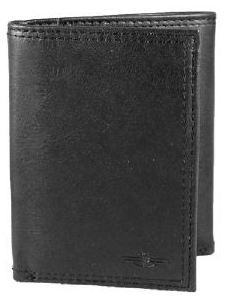 Dockers Mens Business Casual Newport Black Leather Trifold Travel