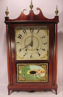 Antique Ephraim Downes Pillar Scroll Wooden Works Clock