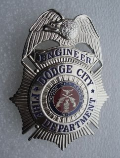 Obsolete Dodge City Fire Dept Kansas Engineer Badge