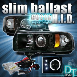 SLIM 6000K HID + 94 01 DODGE RAM 1500 250 3500 HALO BLK PROJECTOR LED