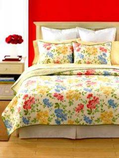 MARTHA STEWART Dorset Flowers Cotton Reversible Quilt FULL / QUEEN