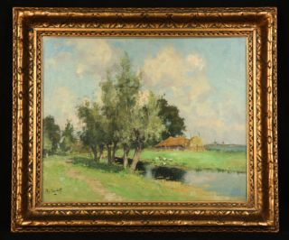 Colorful Dutch Oil Painting Impressionist Landscape by Listed Artist A